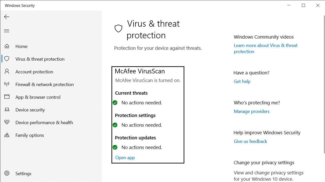 The Virus & threat protection settings window in the Windows Security page