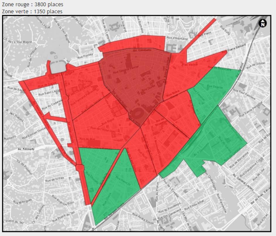 Carte représentant les deux zones de tarifs du stationnement en voirie dans la ville de Nîmes