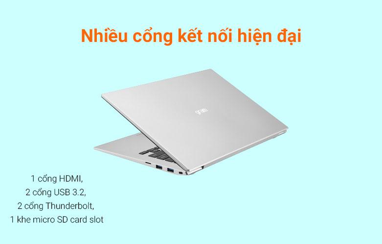 Laptop LG Gram 2021 14ZD90P-G.AX56A5 (i5-1135G7) (Bạc) | Cổng kết nối hiện đại