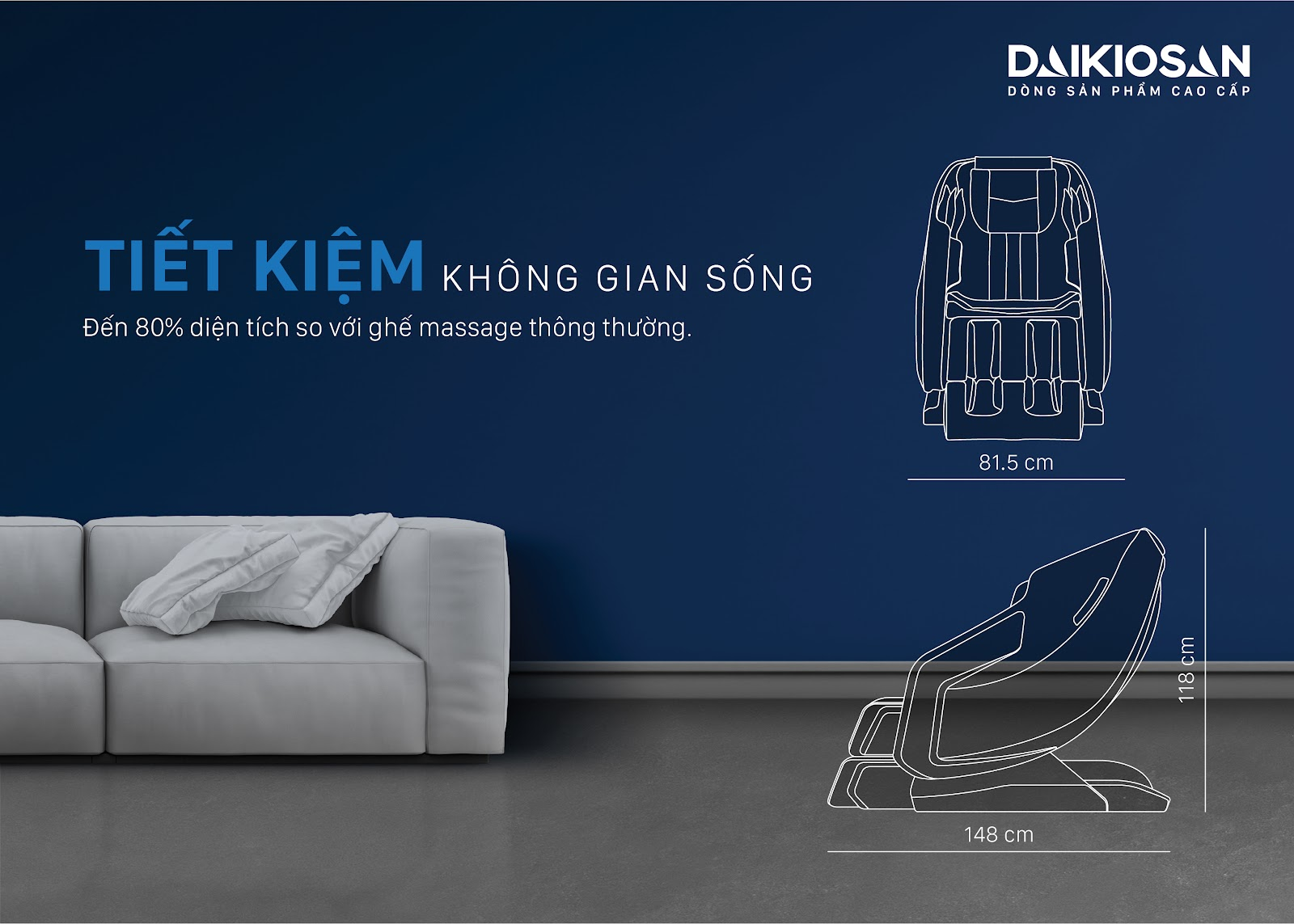 ghế massage thiết kế diện tích tối ưu, tiết kiệm không gian
