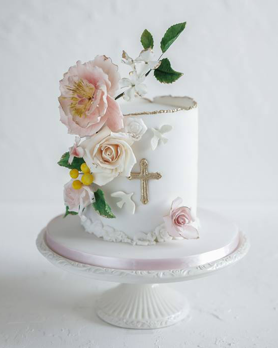 floral Holy Communion cake design
