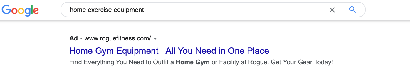 """Google search for """"home exercise equipment"""""""