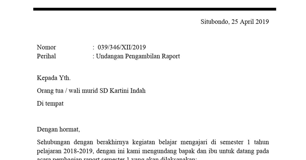 39+ Contoh Surat Dinas Pengambilan Raport | Lucn.us ...