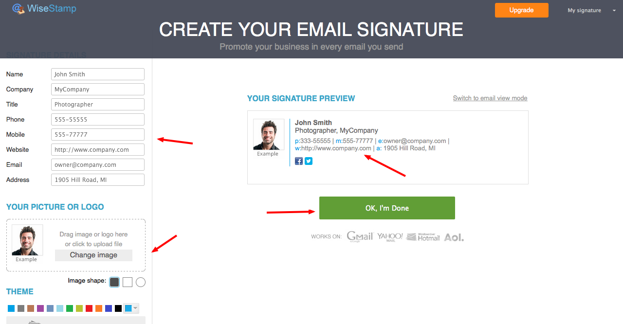 WiseStamp create your email signature