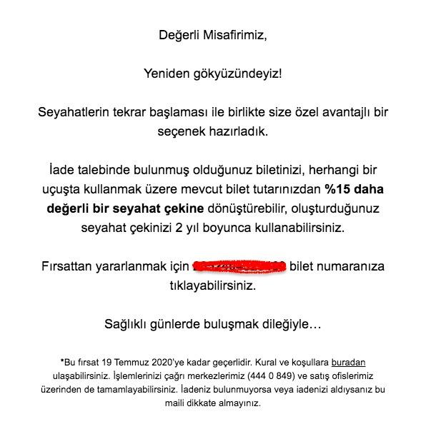 Türk Hava Yolları %15 Değerli Seyahat Çeki Uygulaması