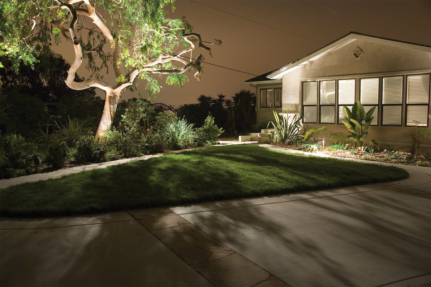 Front house and pathway up lighting example