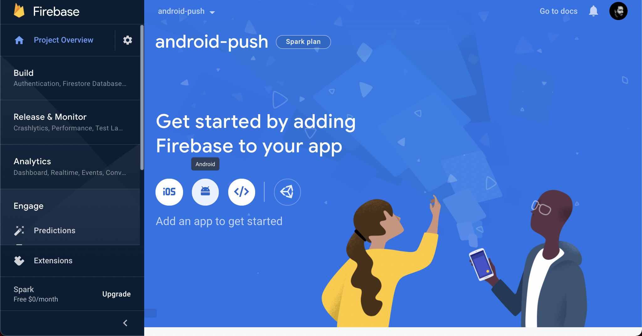 Add your Android app to your Firebase project