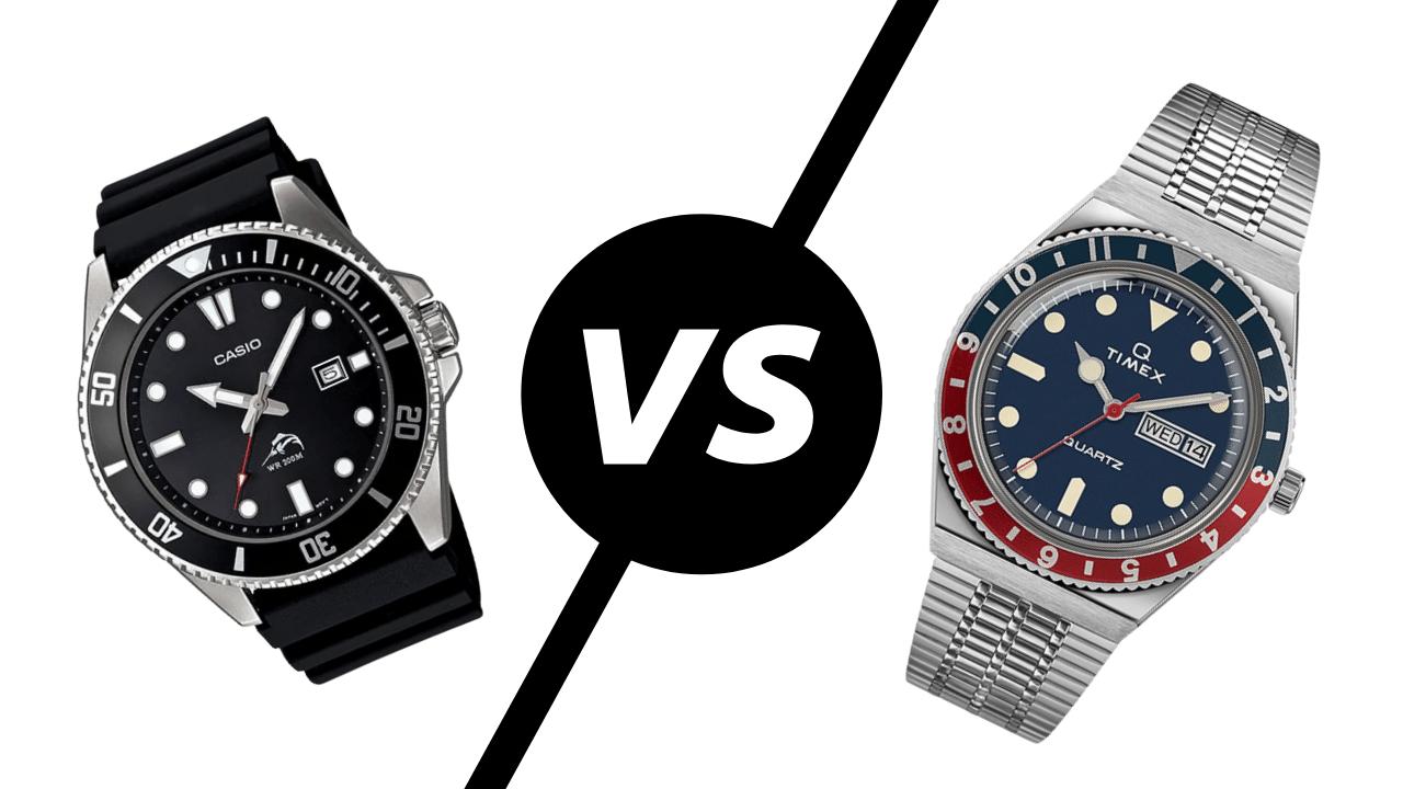Photo of a Casio dive watch vs a Timex dive watch
