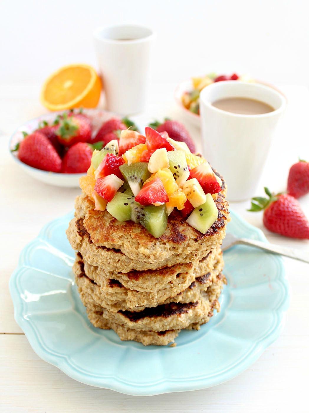 Oat Bran Protein Pancakes