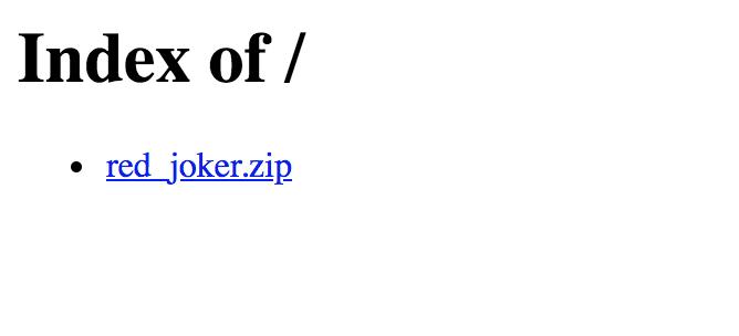 Screenshot of simple website with .zip file download.