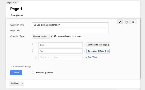 Bạn có thể gửi tới người dùng một trang cụ thể dựa dựa vào phản hồi của họ