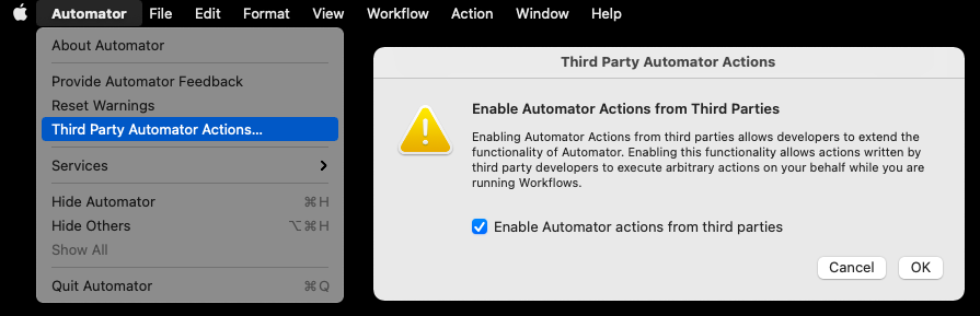 Notice to enable automator actions from third parties.