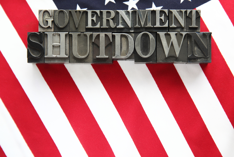 government shutdown letters in front of flag