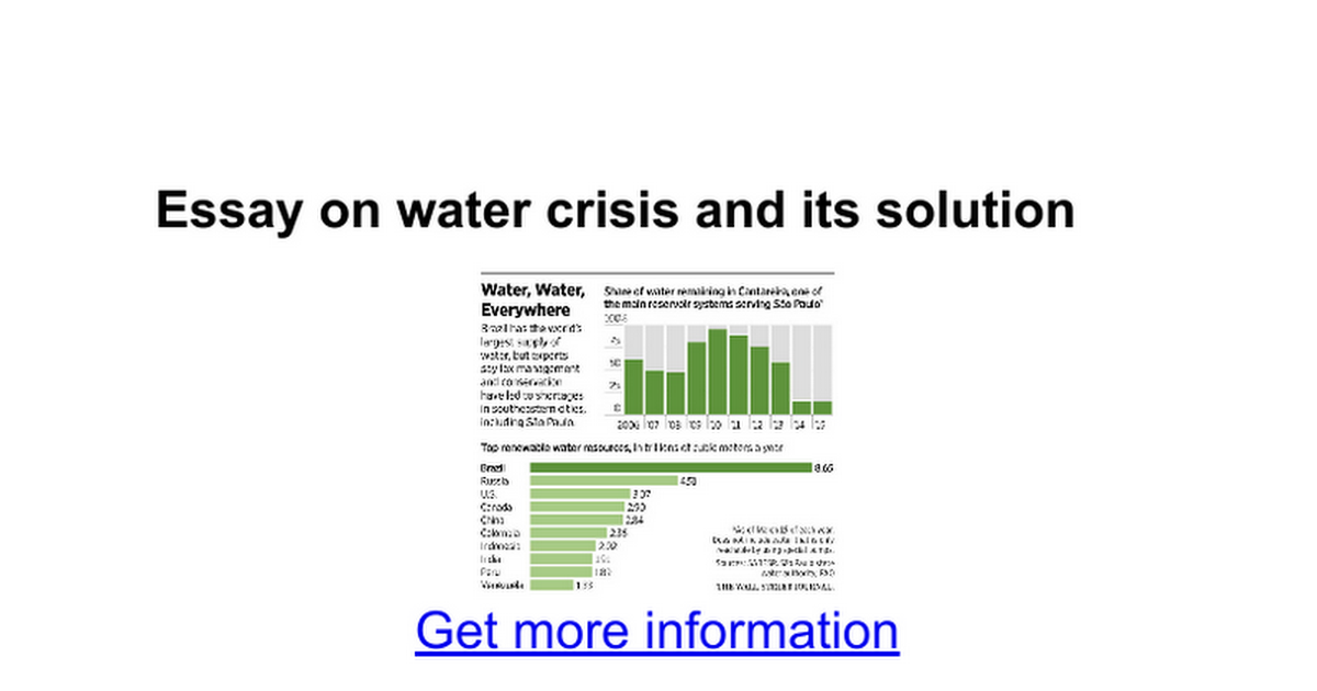 essay on water crisis and its solution google docs