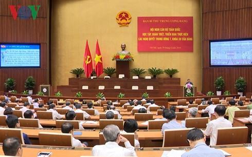 Các đại biểu dự Hội nghị toàn quốc học tập, quán triệt, triển khai thực hiện các Nghị quyết Trung ương 7 khóa XII của Đảng (Ảnh: Dũng Hiền)