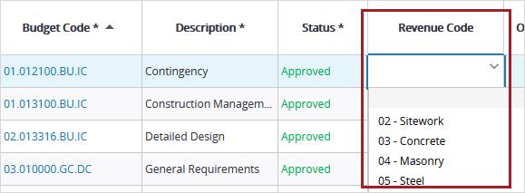 Construction Revenue codes