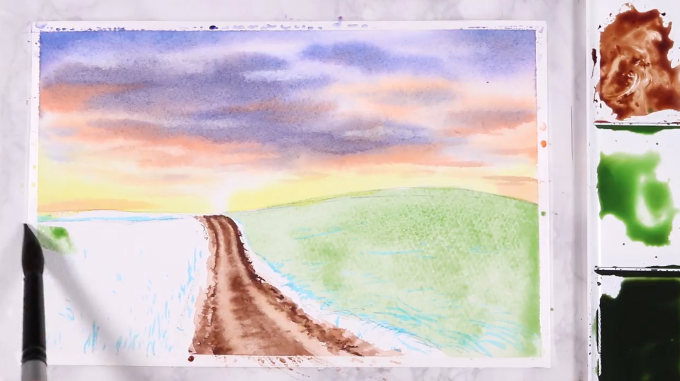 Use broad strokes to paint the ground and larger details