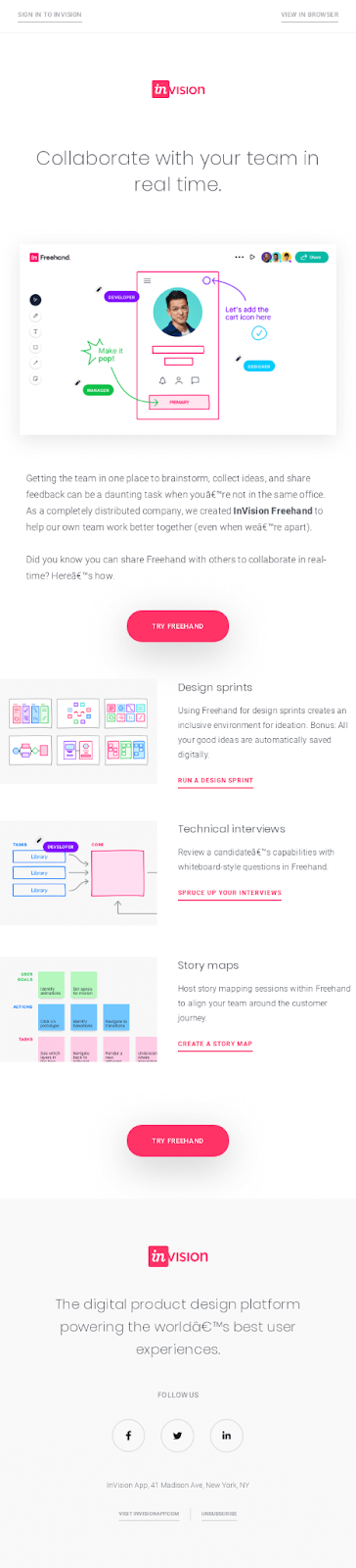 Email Blasts - Invision Example