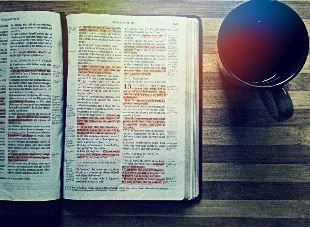 bible, coffee, reading