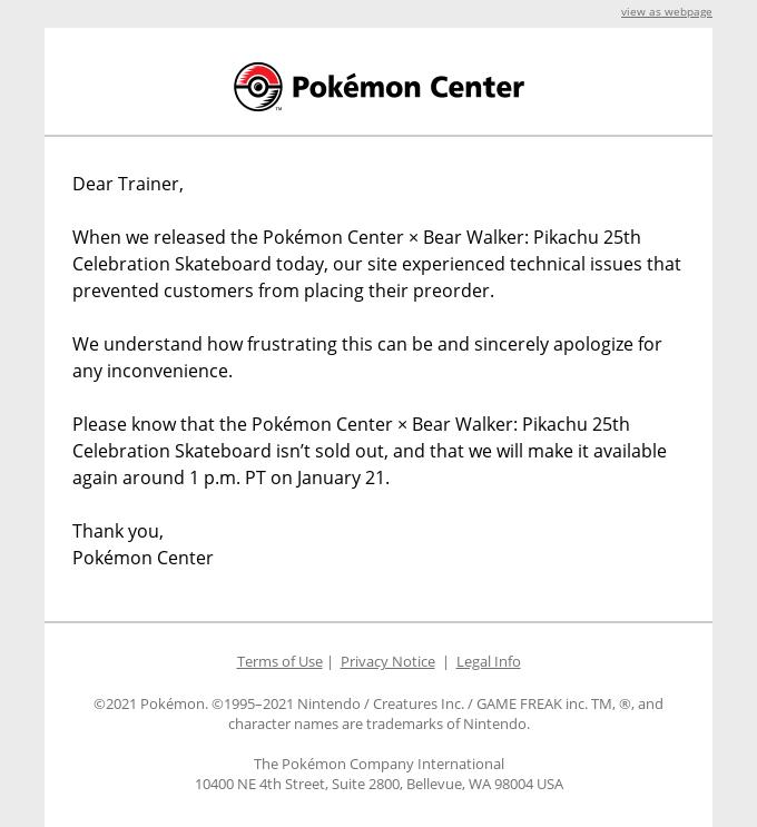 Pokémon Center Email