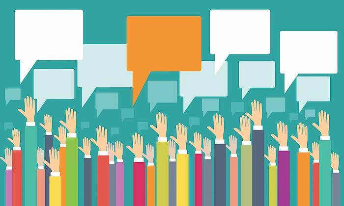 Illustration of raised hands with speech bubbles