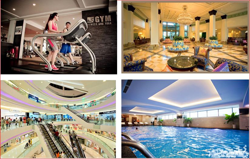 tiện ích hồ bơi, sảnh đón khách, tập Gym