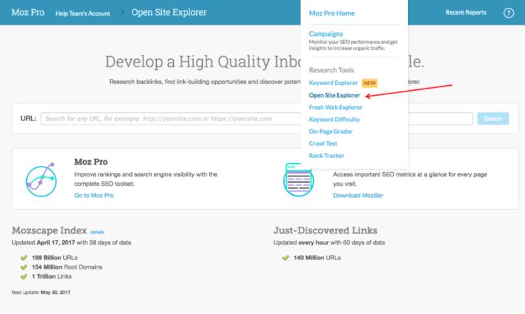 Đầu tiên cần phải vào Open Site Explorer