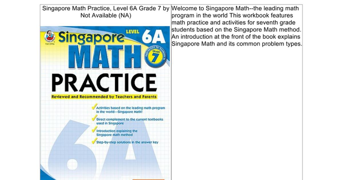Singapore Math Practice, Level 6A Grade 7 - Google Docs