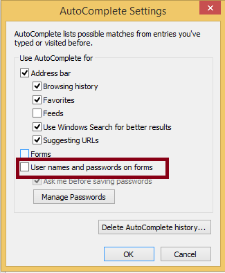 disable Autofill  from internet explorer