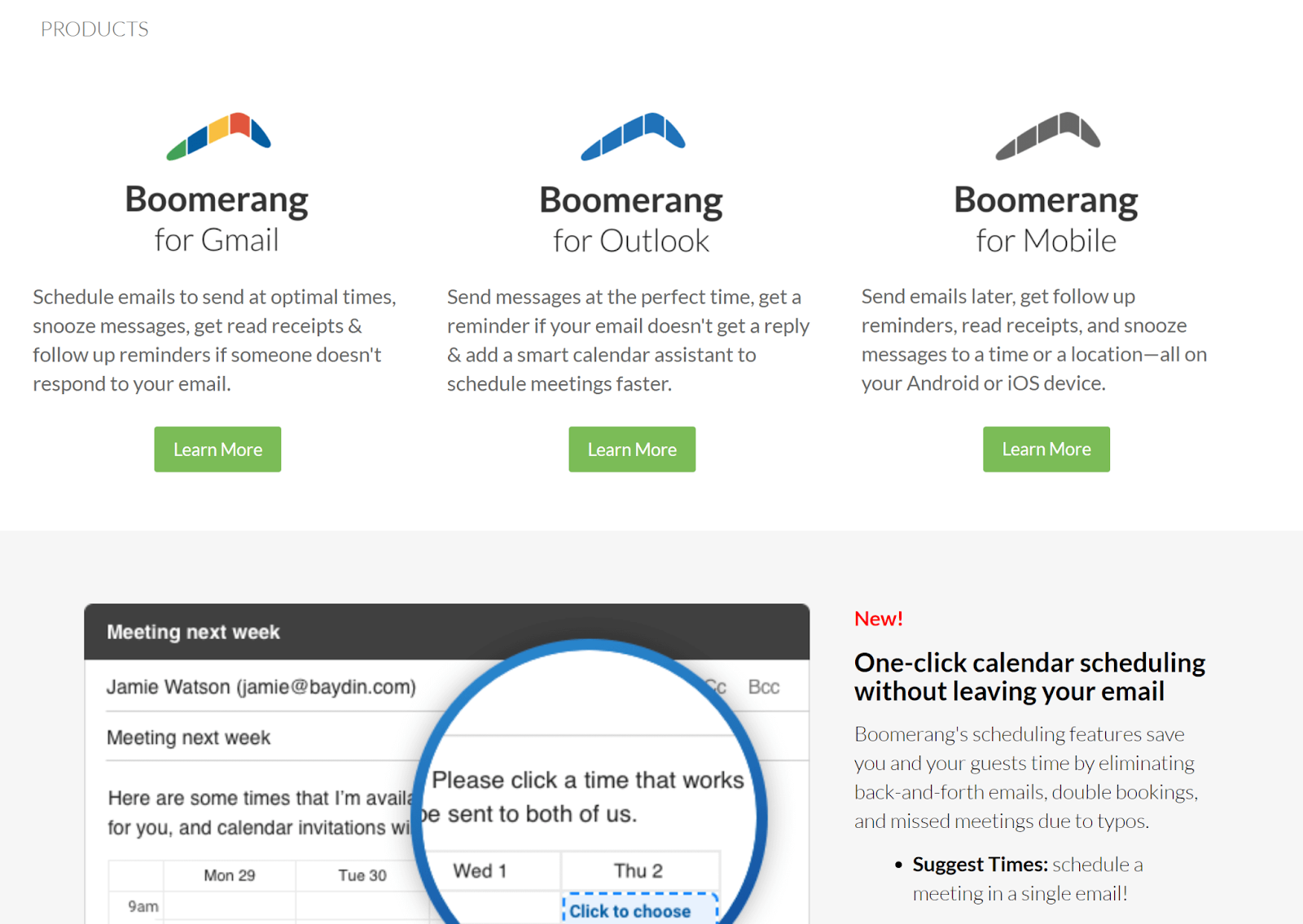 Second section of Boomerang landing page, displaying more details about features