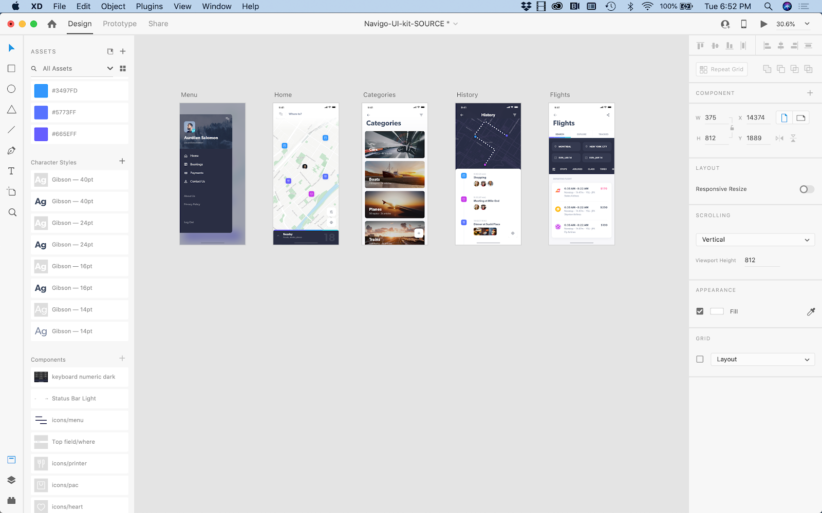 High-fidelity global navigation elements in a mobile app wireframe.
