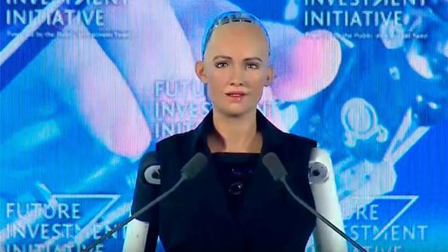 Robot Sophia tại buổi cấp quyền công dân.