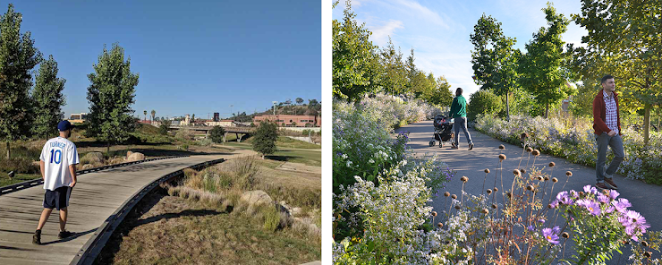 left: Los Angeles State Historic Park, photo via Weekend Sherpa.   right: Corktown Common, photo via MVVA.
