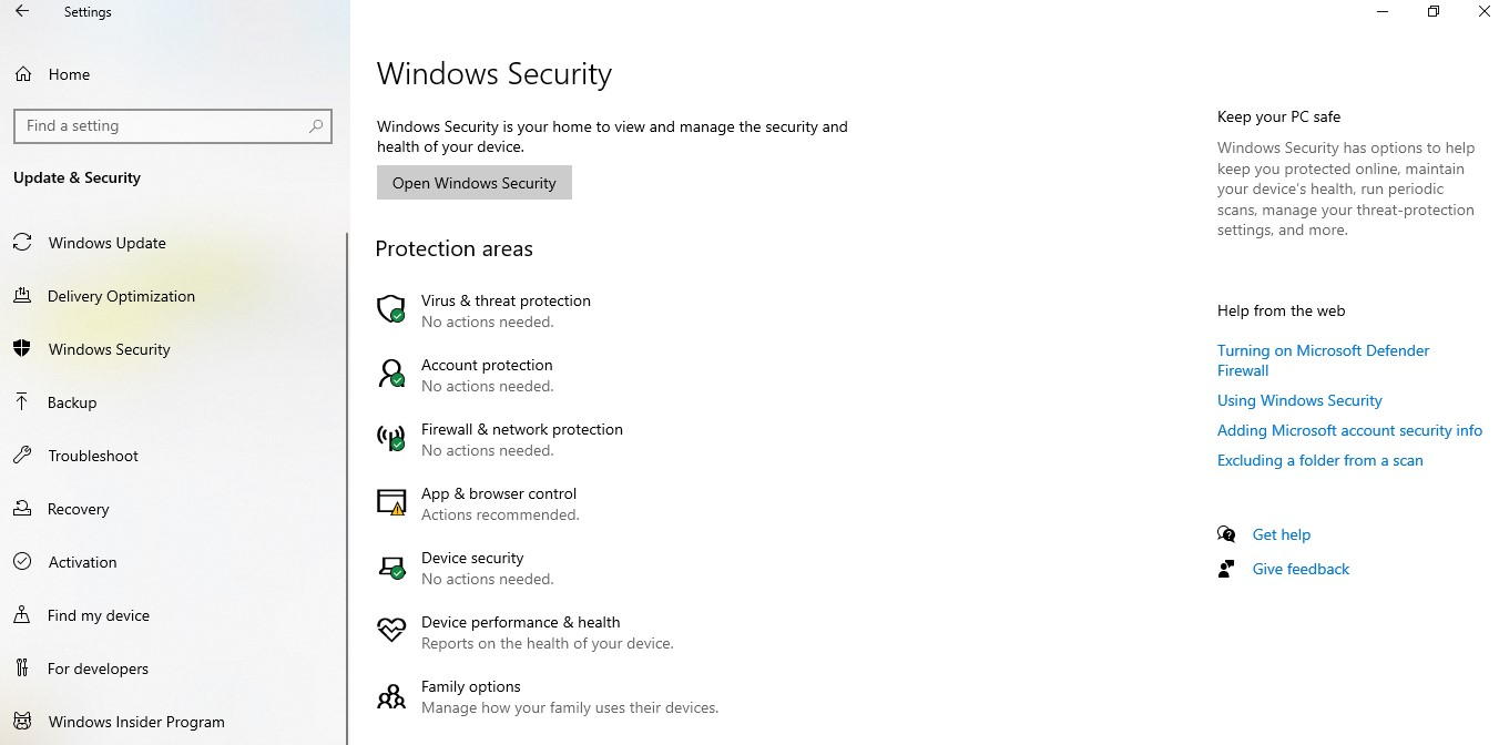 Click on the Update & Security option and then choose Windows Security from the left pane, once you are in the Update & Security menu.