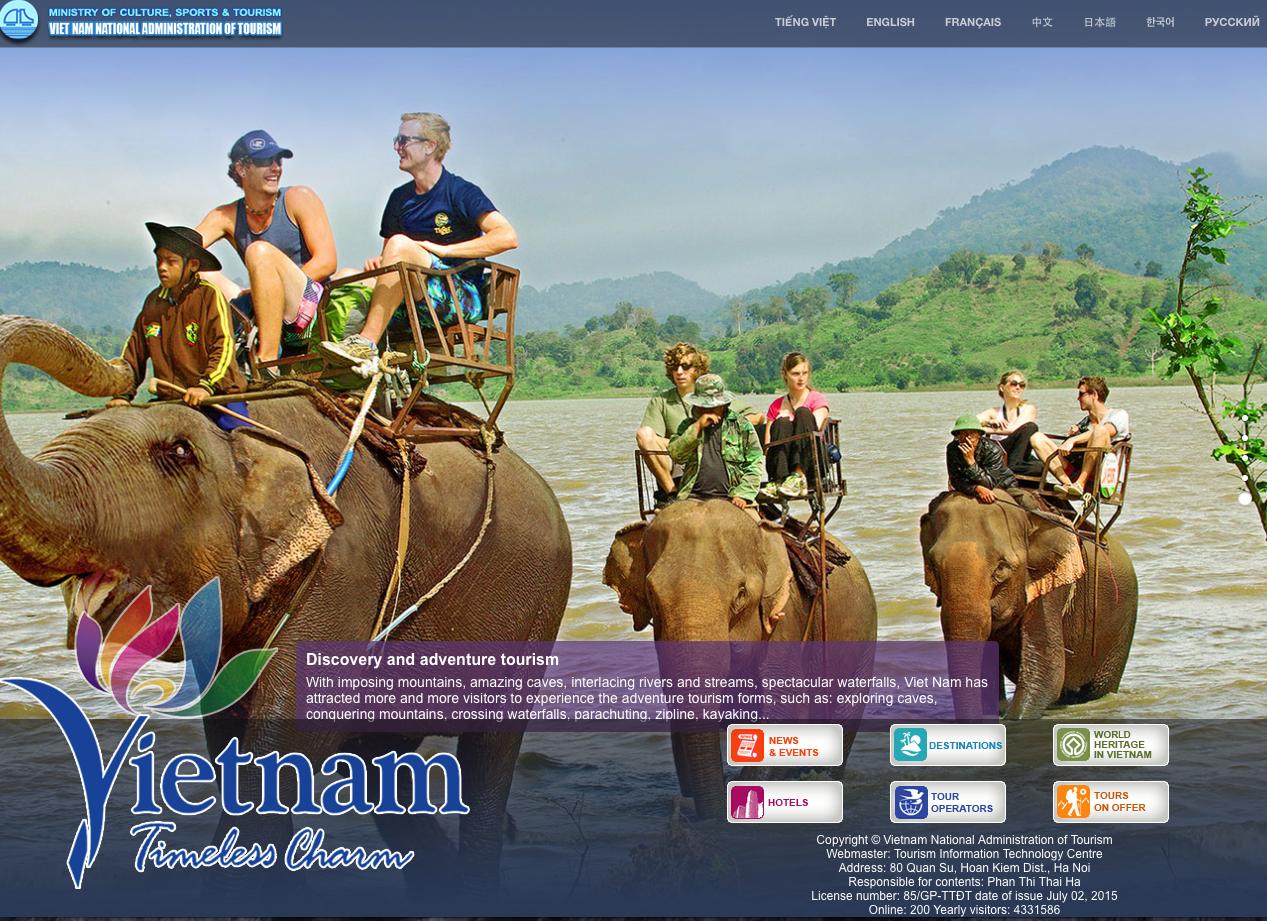 Website của Tổng cụ du lịch Việt Nam nhằm quảng bá hình ảnh du lịch Việt Nam