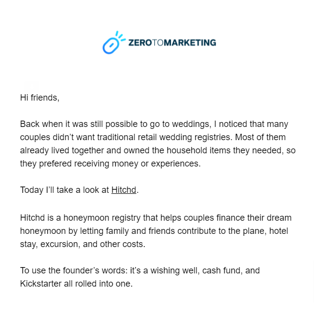 zero to marketing newsletters