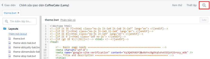 Kính lúp trong phần sửa code