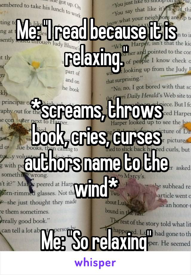 Cursing characters of a book to relax - benefit of reading