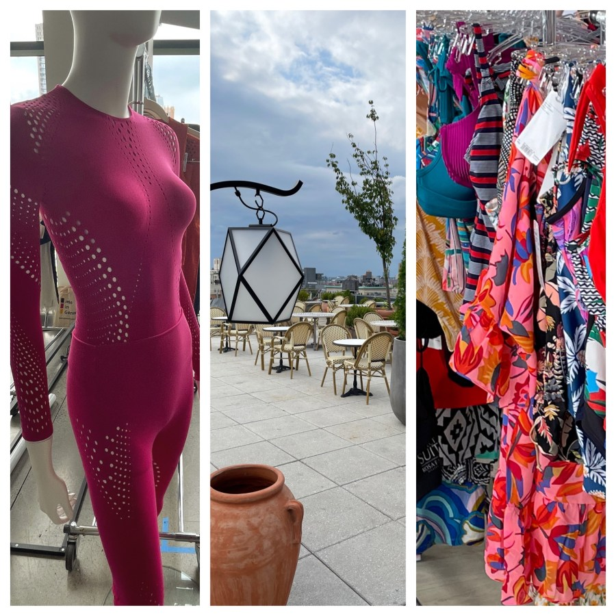 A collection of images from left to right: a  mannequin in a hot pink bodysuit with decorative lace patterns, an open air rooftop patio, a group of bras, robes, lingerie in bright colors and patterns.