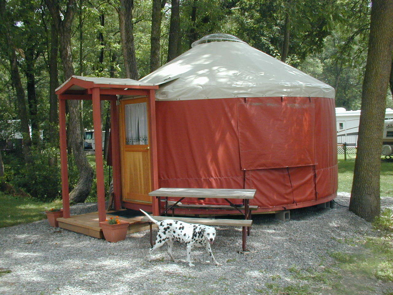 Red yurt at campground with dog in front