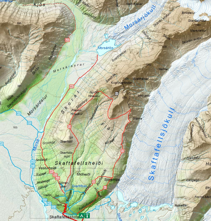 Map of hiking trails in Skaftafell National Park, Iceland.