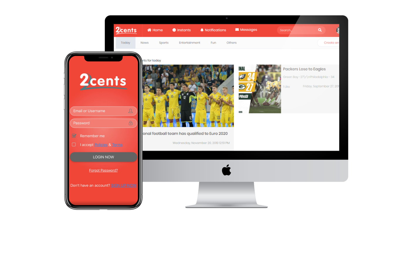 mobile and web version of 2Cents.com