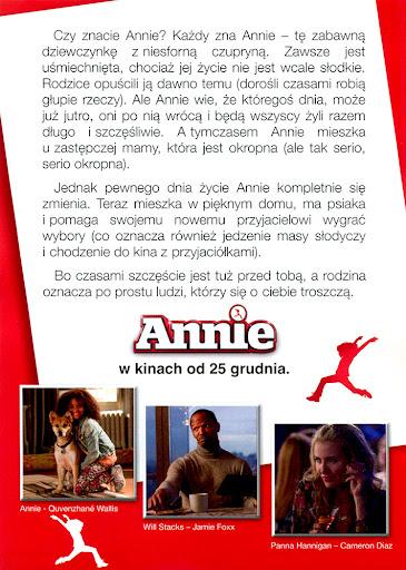Tył ulotki filmu 'Annie'