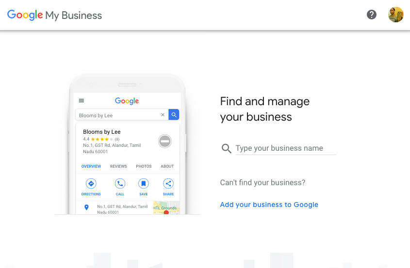 Captura de pantalla de Google My Business