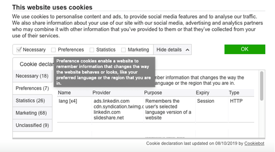Granular consent as an alternative to cookie walls, offered by Cookiebot.