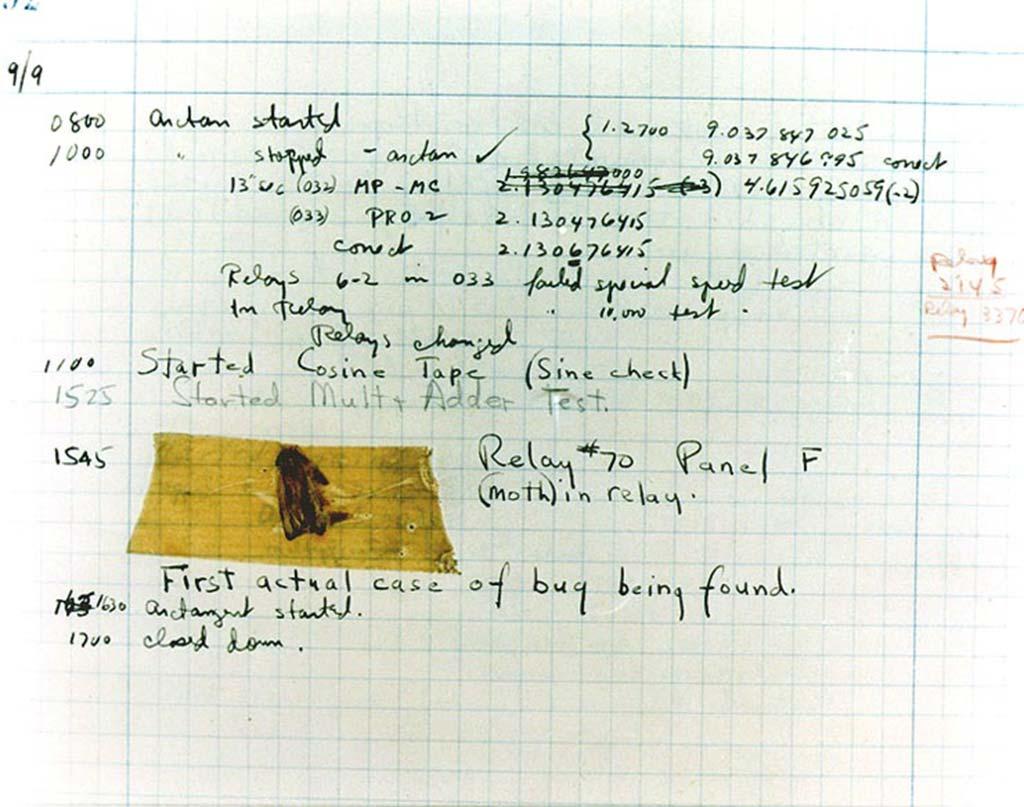 livro de registros do primeiro bug de computador da história, verificado no mark ii de harvard