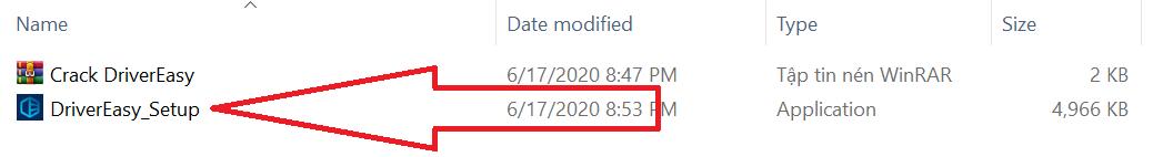 chạy file cài đặt driver easy