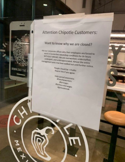A photo of a note on a Chipotle door. The employees are on strike.