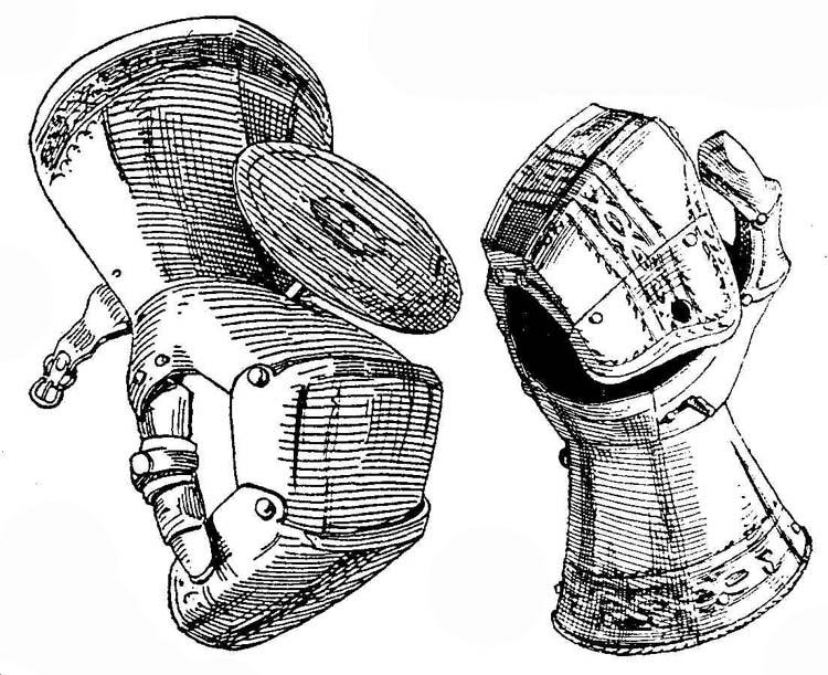 gauntlets with rondel and lock mechanism