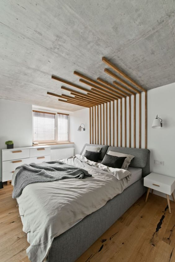 Floor-to-Ceiling Wooden Stripes for Small Master Bedroom Design